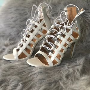 Women's White Lace-Up Open Toe Heels